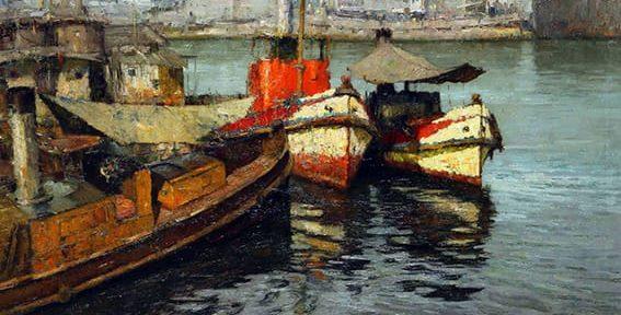 Oscar Vaz . Proas . óleo sobre lienzo . 105 x 130 cm . 1962