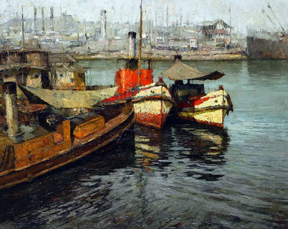 Para quienes gustan del puerto y de las embarcaciones, la pintura que exhibimos de Oscar Vaz (1909 - 1987) de seguro lo va a enloquecer, puesto que sin lugar a dudas está entre las obras más lindas e importante del artista.