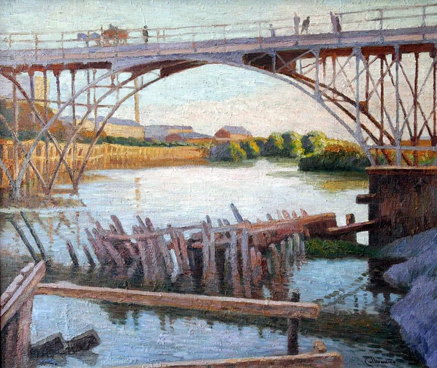 Pío Collivadino . Puente Alsina . óleo sobre lienzo . 60 x 70 cm . 1914