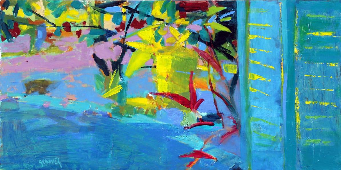 Rincón del jardín . óleo sobre tabla . 30 x 60 cm . 2016