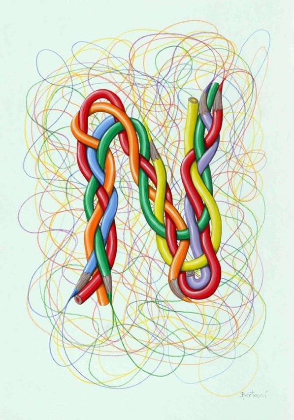 Ernesto Bertani . N . acrílico y lápiz sobre papel . 50 x 35 cm . 2016