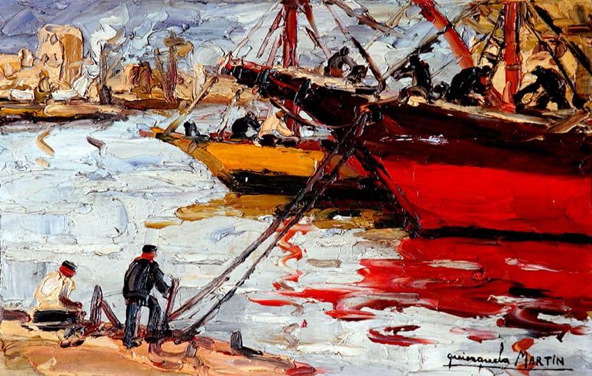Benito Quinquela Martín . Mañana de Trabajo . óleo sobre tabla . 28 x 43 cm . 1930