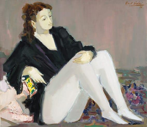 Raúl Soldi . La Blusa Negra . óleo sobre lienzo . 70 x 80 cm . 1981