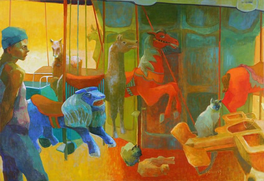 Calesita dormida . óleo sobre lienzo . 90 x 130 cm . 2008
