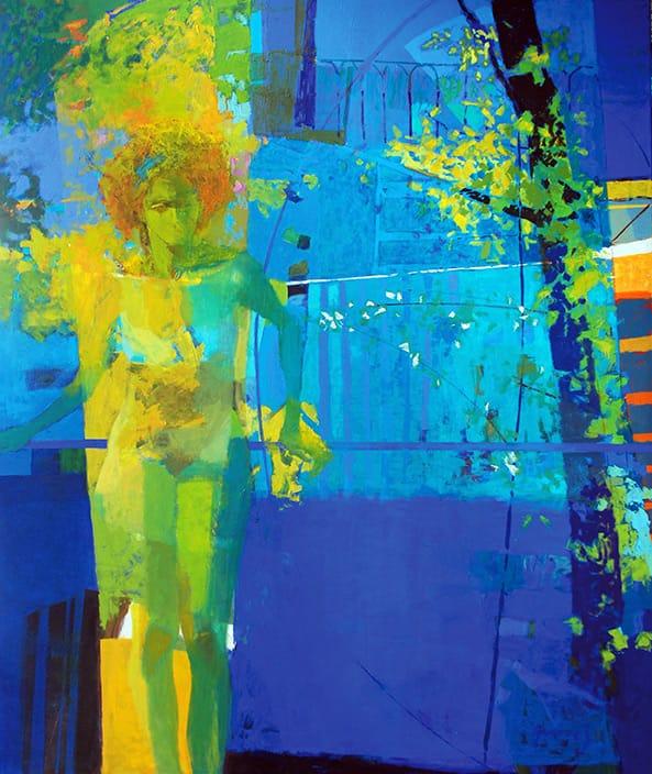 Desnudo en el ventanal . óleo sobre lienzo . 190 x 160 cm . 2018