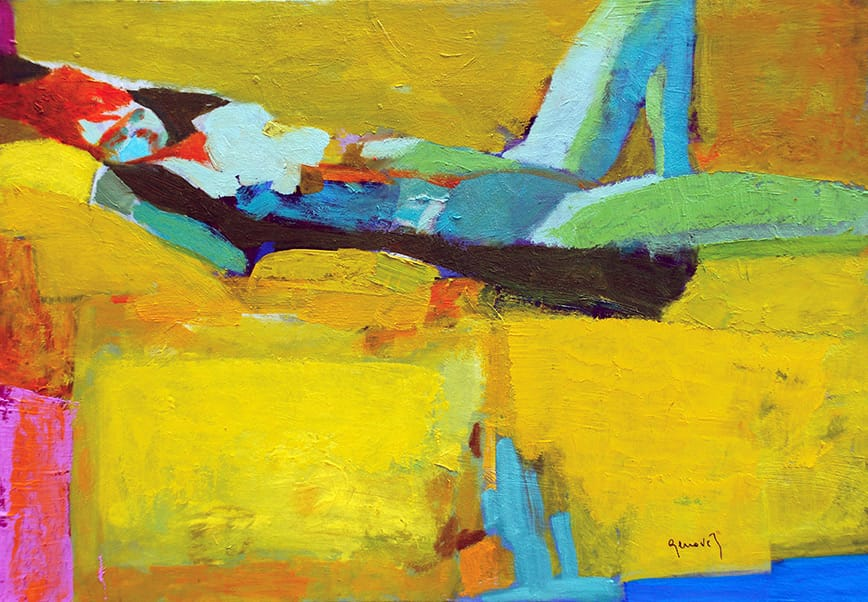 Figura sobre fondo amarillo . óleo sobre tabla . 35 x 50 cm . 2018