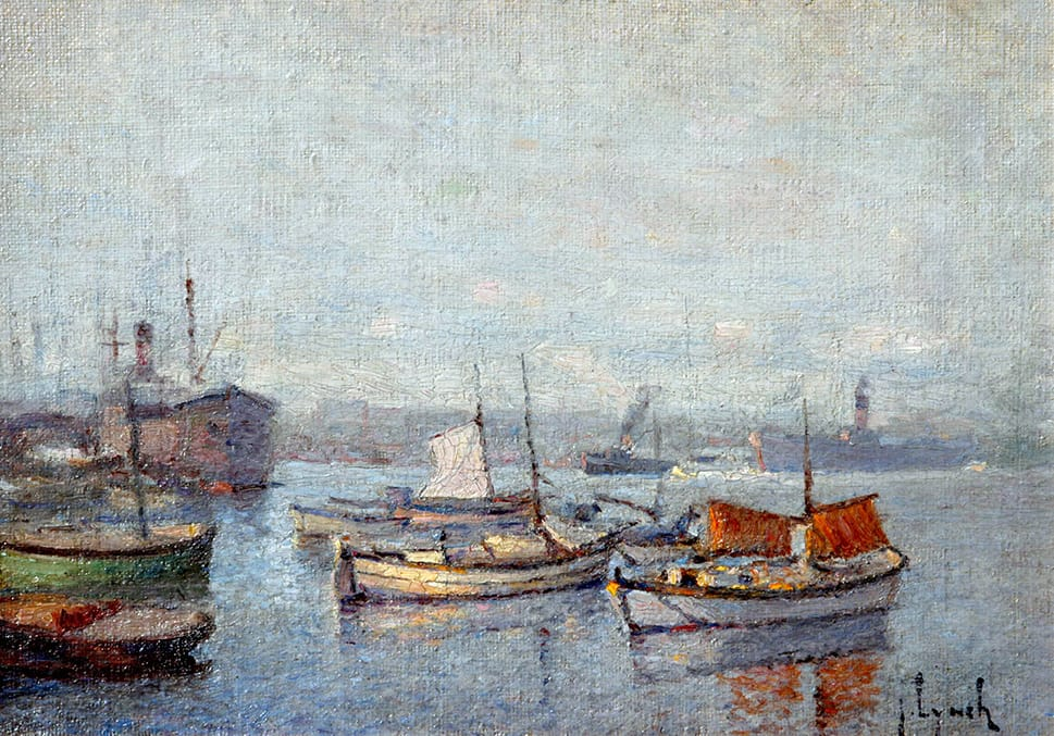 Justo Lynch . Barcas . óleo sobre tabla . 24 x 32 cm . 1935