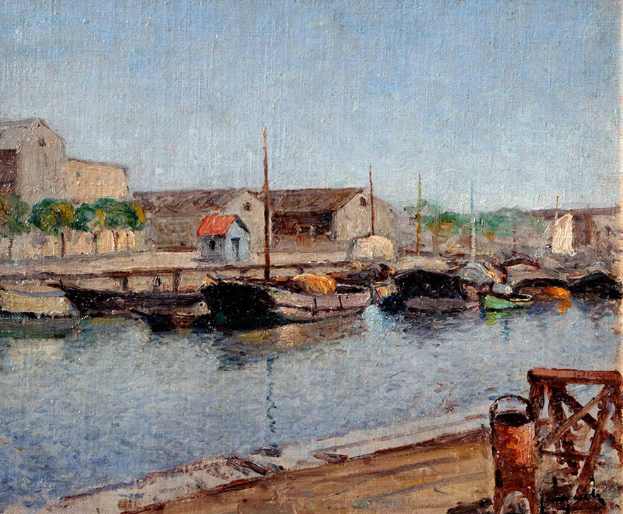 Justo Lynch . Barcas en el Riachuelo . óleo sobre tabla . 26 x 31 cm . 1935