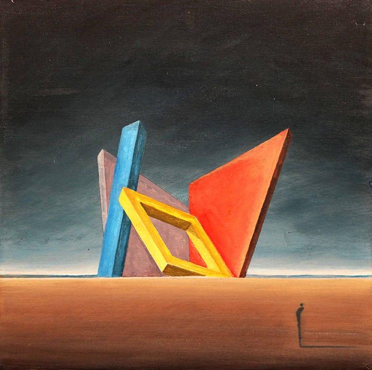 Gustavo Boggia . El Desvarío del Arquitecto . acrílico sobre tabla . 35 x 35 cm . 2016
