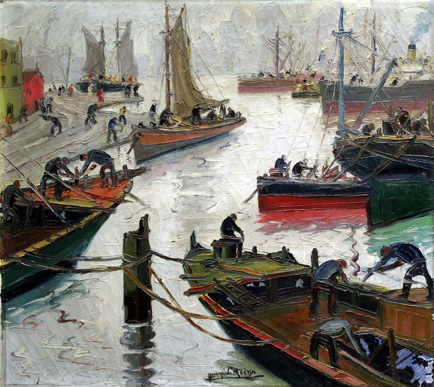 Benito Quinquela Martín . Momento Gris . óleo sobre lienzo . 90 x 100 cm . 1936
