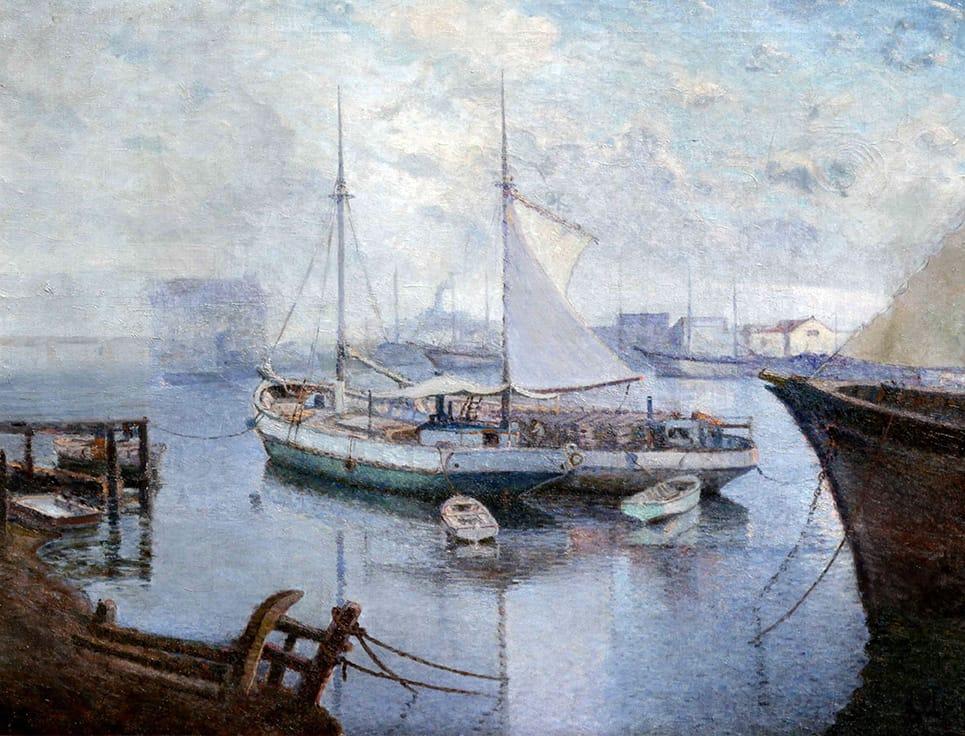 Justo Lynch . Vista del Puerto de Buenos Aires . óleo sobre lienzo . 70 x 90 cm