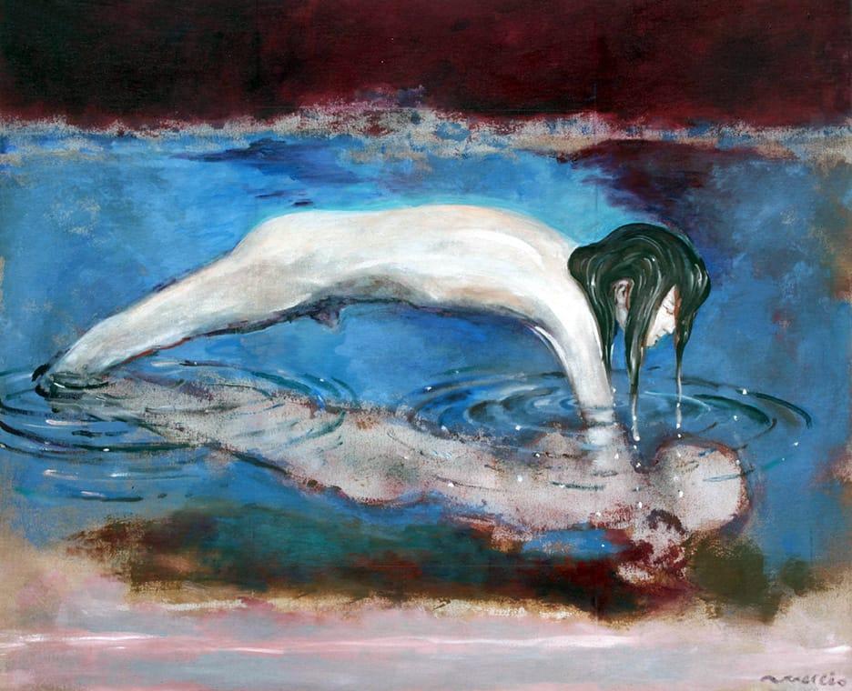 Rómulo Macció . El Crimen de Narciso . óleo sobre lienzo . 92 x 114 cm . 1979