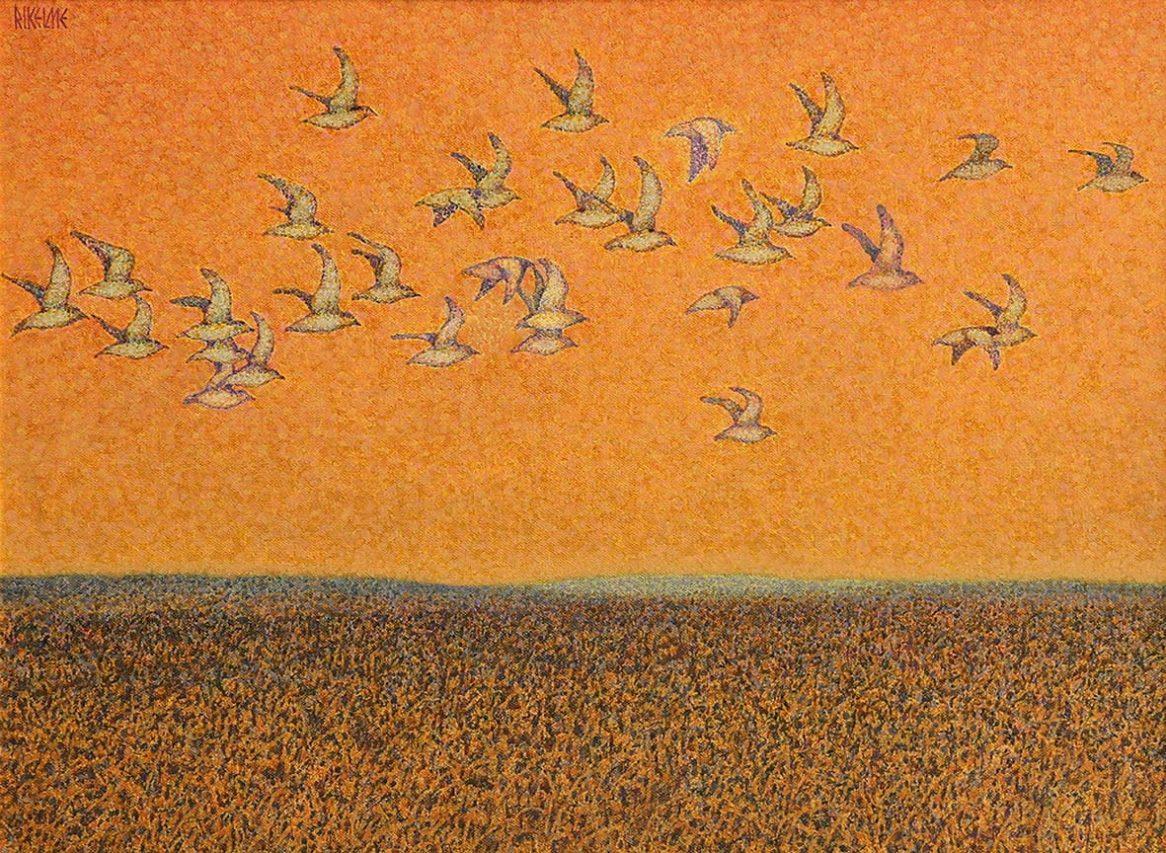 Bandada hacia el Sur . acrílico sobre lienzo . 50 x 70 cm . 1992