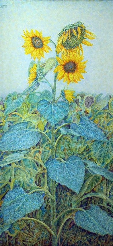 Últimas Flores . óleo sobre lienzo . 105 x 50 cm . 1994