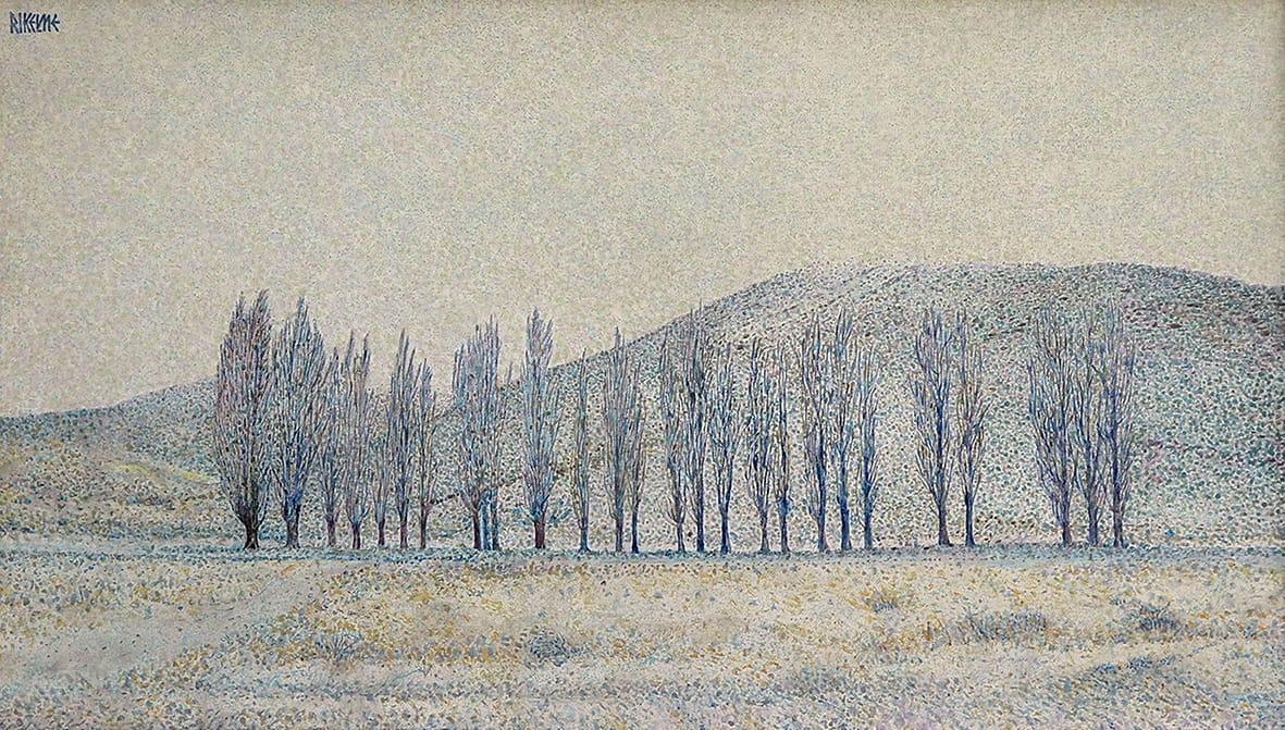 Nevazón en Malargüe . acrílico sobre lienzo . 40 x 70 cm . 2004