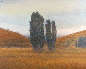 Álamos en La Bonita, Chubut . acrílico sobre lienzo . 131 x 163 cm . 2004