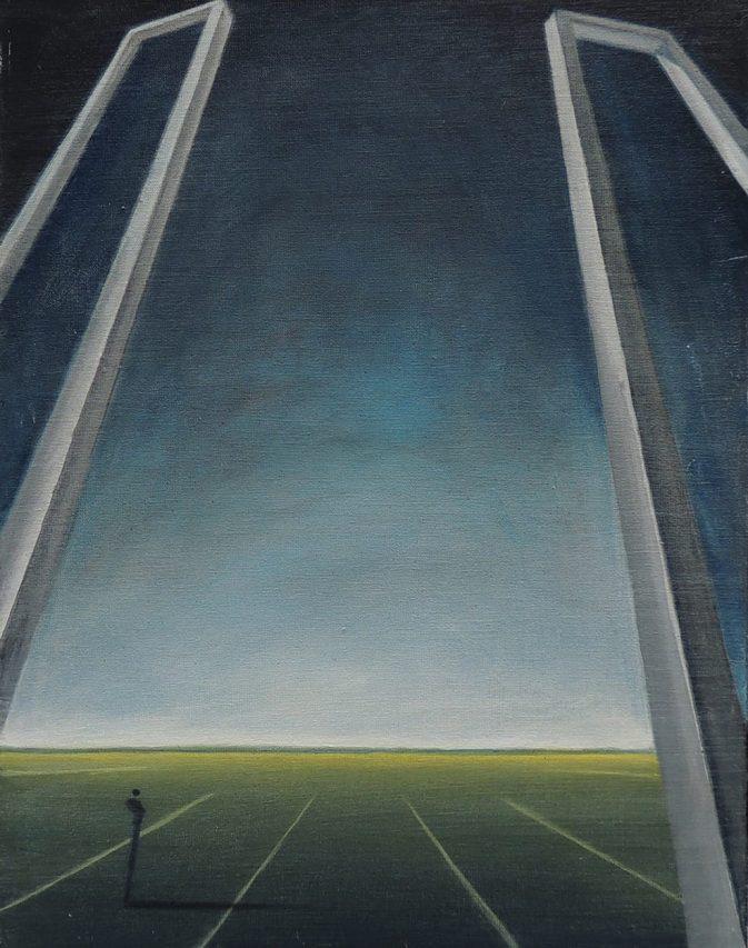 La Incertidumbre de los Pórticos . acrílico sobre lienzo . 40 x 30 cm . 2017