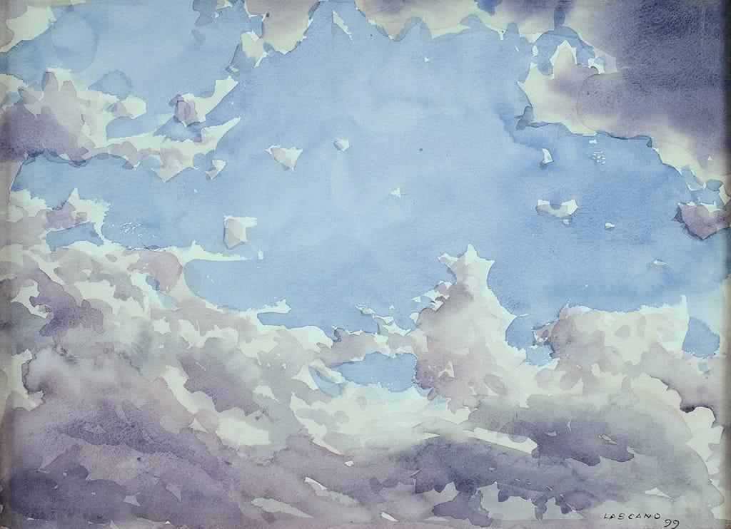 Juan Lascano . Nubes . acuarela sobre papel . 24 x 32 cm . 1999