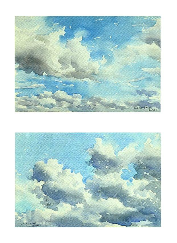 Juan Lascano . Cielo de Primavera . acuarela sobre papel . 12 x 20 cm . 2001