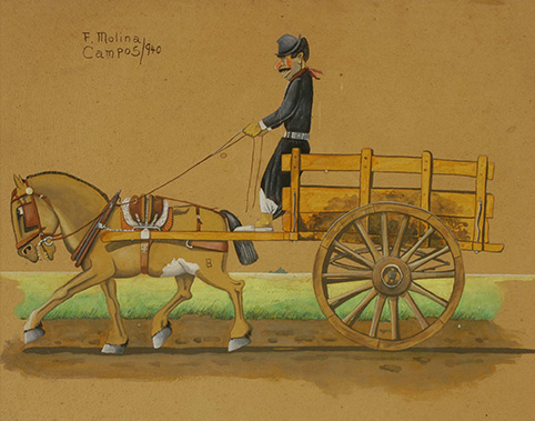 16020 Florencio Molina Campos . El Carro . témpera y acuarela sobre cartón . 51 x 60 cm . 1940