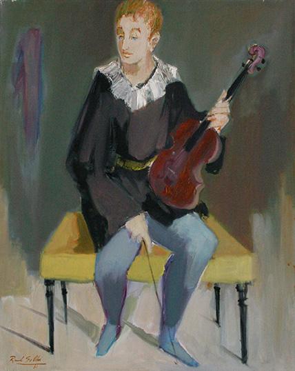 26408 Raúl Soldi . Violinista de Orquesta . óleo sobre lienzo . 100 x 70 cm . 1981