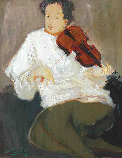26413 Raúl Soldi . Violinista Ensayando . óleo sobre lienzo . 68 x 54 cm . 1980.