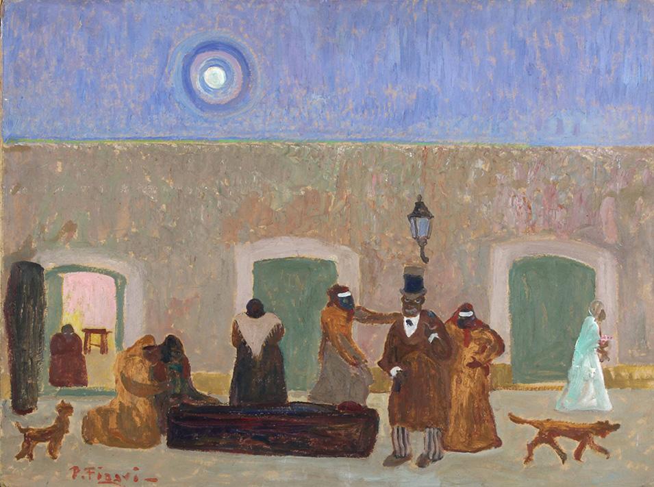 31596 Pedro Figari . ¿Quién carga con el Muerto? . óleo sobre cartón . 61 x 80 cm . 1928