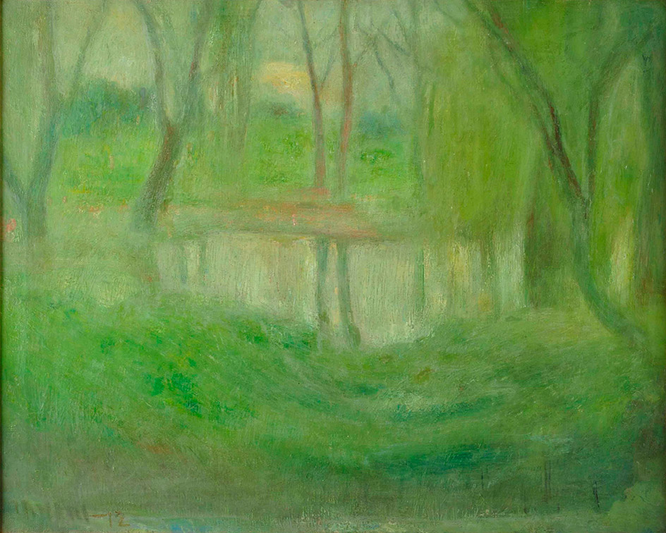 31627 Eugenio Daneri . Laguna de Palermo . óleo sobre lienzo . 62 x 74 cm . 1912