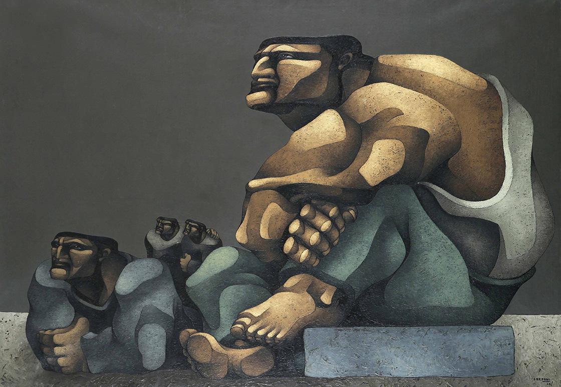 33579 Ricardo Carpani . Desocupados . óleo sobre lienzo . 140 x 200 cm . 1964