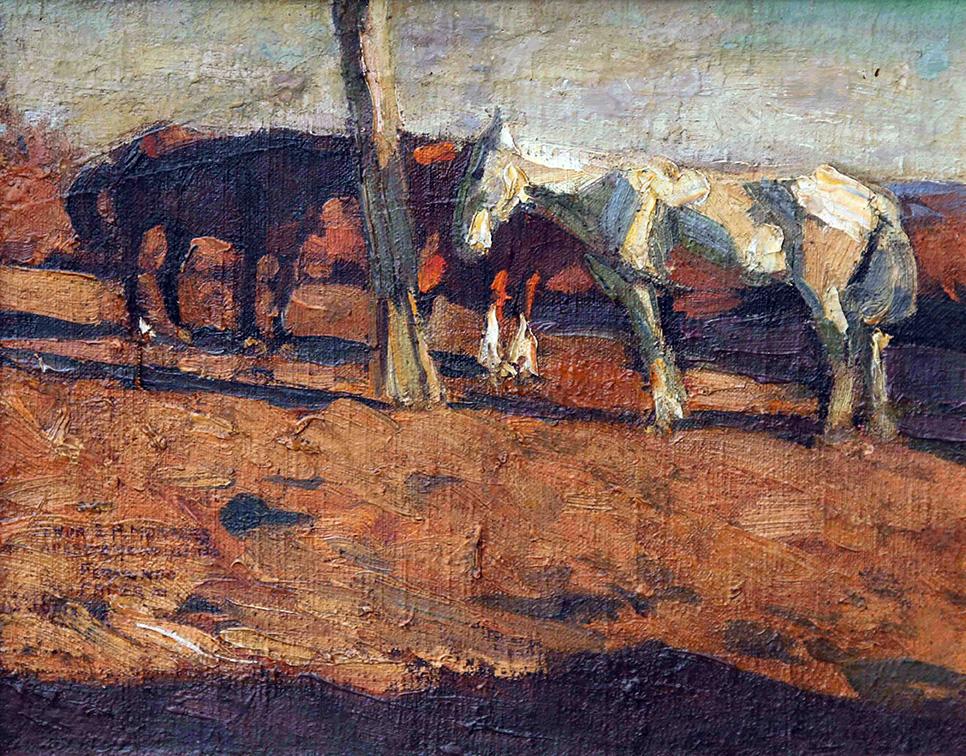 34281 Fernando Fader . Mancarrones . óleo sobre lienzo . 36 x 45 cm . 1906