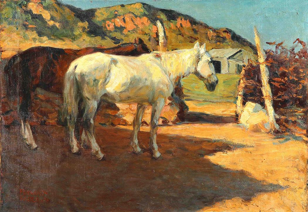 34704 Fernando Fader . Caballos al Sol . óleo sobre lienzo . 70 x 100 cm . 1906