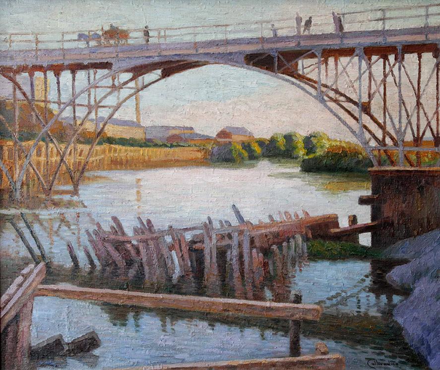 36004 Pío Collivadino . Puente Alsina . óleo sobre lienzo . 60 x 70 cm . 1914