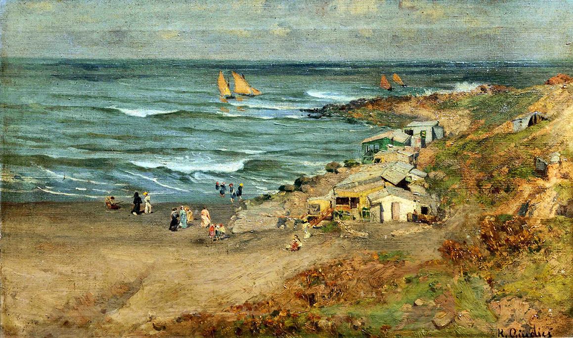 36434 Reinaldo Giudici . Playa de los Ingleses . óleo sobre lienzo . 39 x 65 cm . 1901