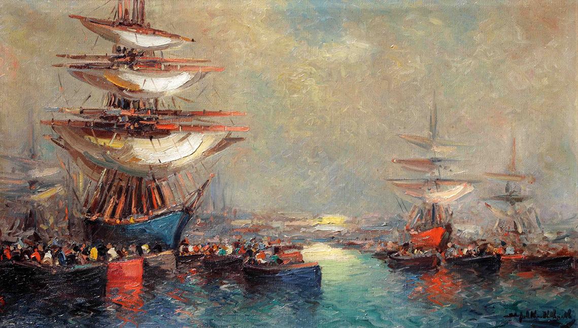 36622 Stephen Koekkoek . Veleros en Sol de Mayo . óleo sobre lienzo . 60 x 100 cm . 1925