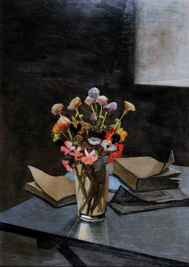 37465 Fortunato Lacámera . Flores . óleo sobre tabla . 70 x 49 cm . 1940