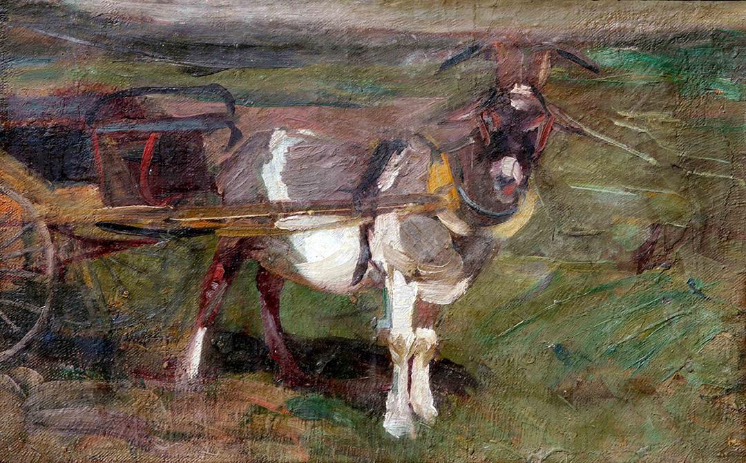 37611 Fernando Fader . Chivo Holandés . óleo sobre lienzo . 35 x 55 cm . 1903