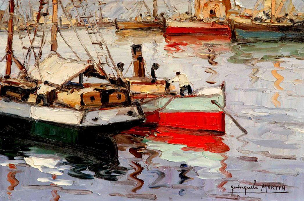 38158 Benito Quinquela Martín . Reflejos . óleo sobre tabla . 36 x 55 cm . 1930