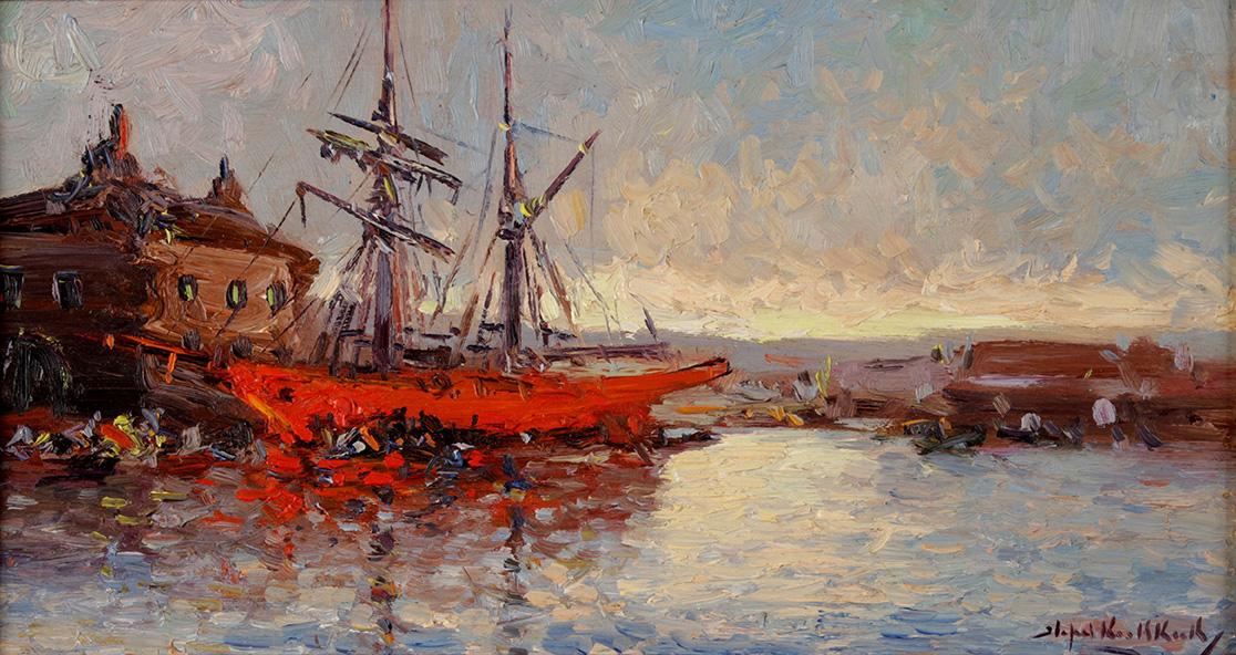 39052 Stephen Koekkoek . Fragata Roja . óleo sobre tabla . 22 x 40 cm . 1933