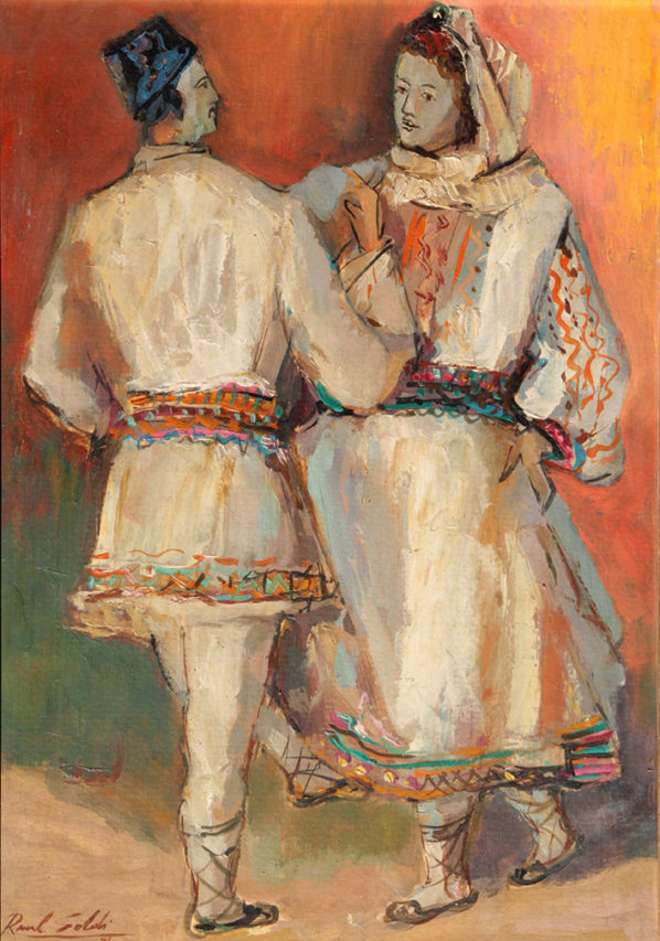 39161 Raúl Soldi . Bailarines Rumanos . óleo sobre tabla . 40 x 29 cm . 1976