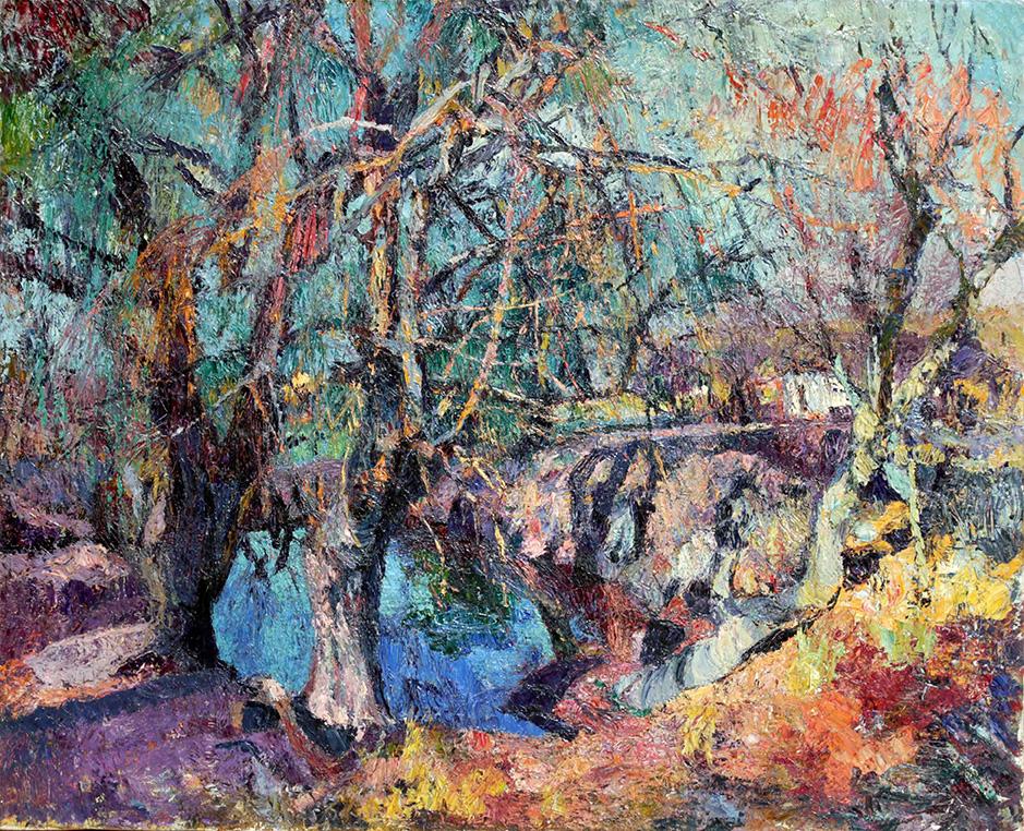 39507 Fernando Fader . Estanque de Invierno . óleo sobre lienzo . 89 x 109 cm . 1925