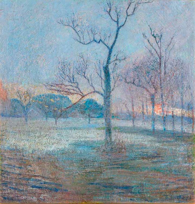 39537 Eugenio Daneri . Últimos Rayos . óleo sobre lienzo . 83 x 81 cm . 1921