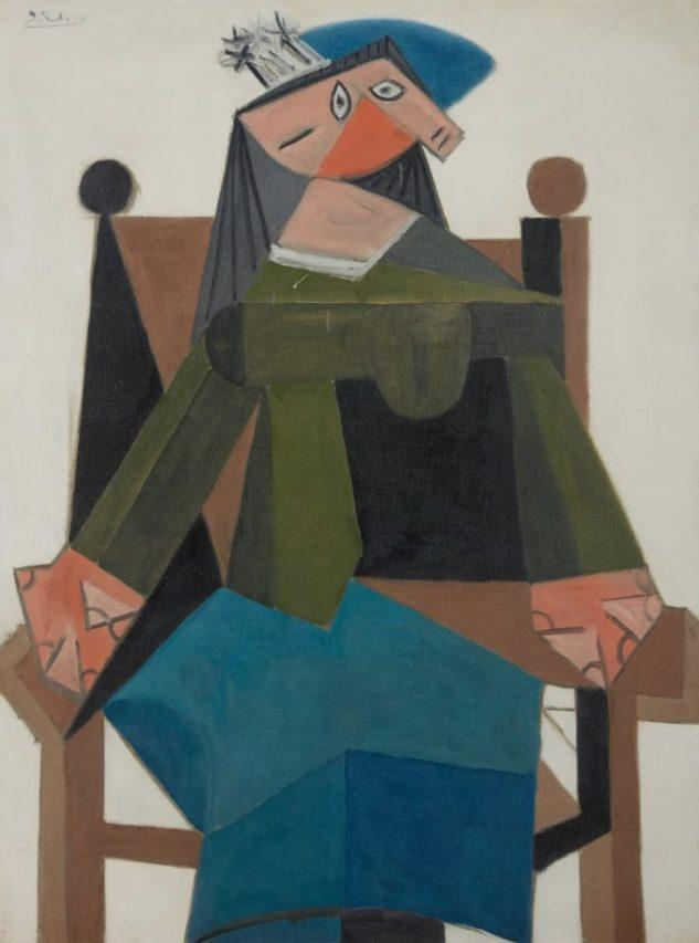"""Mujer sentada en un sillón"", obra realizada por Picasso."