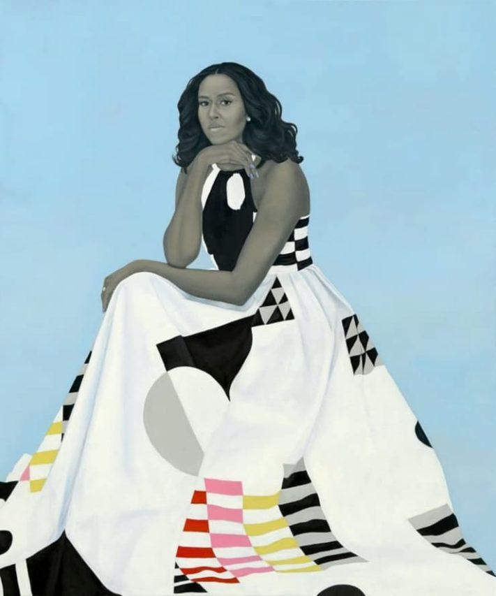 Retrato de Michelle Obama realizado por Amy Sherald.