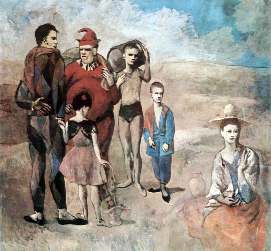 La familia de saltimbanquis por Pablo Picasso.
