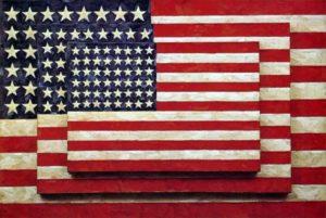 Una de sus banderas, ícono del arte americano.