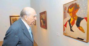 Julio María Sanguinetti en la exposición.